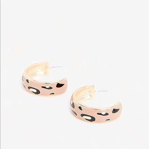 Express Leopard Print Enamel Earrings. New